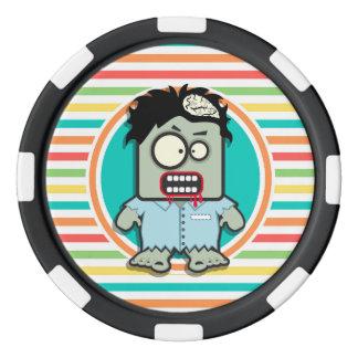 Funny Zombie, Bright Rainbow Stripes Poker Chips