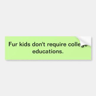 Fur kids don't require college educations. bumper sticker