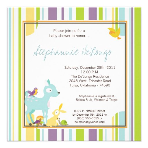 Woodland forest animals baby shower girl invite invitation Rfcb D D Ab