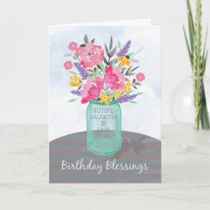Future Daughter In Law Birthday Blessings Jar Vase Card