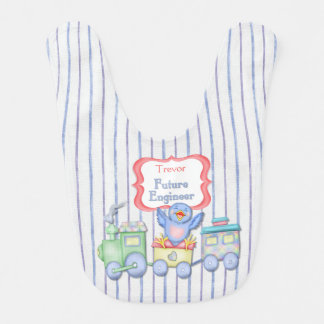 Future Engineer Bluebird Train - Boy Baby Bibs