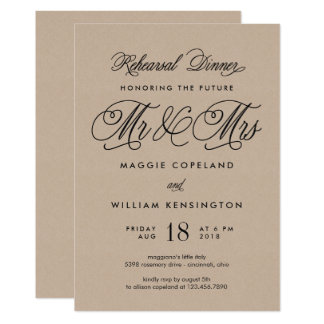 Future Mr and Mrs Rehearsal Dinner Invite Kraft