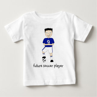 Future Soccer Player Cartoon Character in Blue Baby T-Shirt