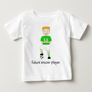 Future Soccer Player Cartoon Character in Green Baby T-Shirt
