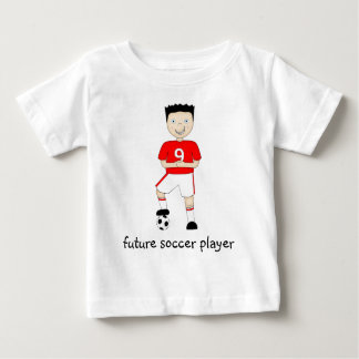 Future Soccer Player Cartoon Character in Red Baby T-Shirt