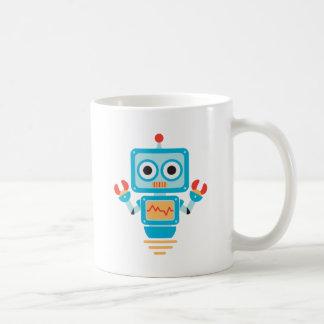 Futuristic Blue, Red, and Yellow Cartoon Robot Basic White Mug