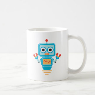 Futuristic Blue, Red, and Yellow Cartoon Robot Coffee Mug