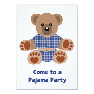 Fuzzy Teddy Bear Blue Plaid Pajamas PJ Party Invitations