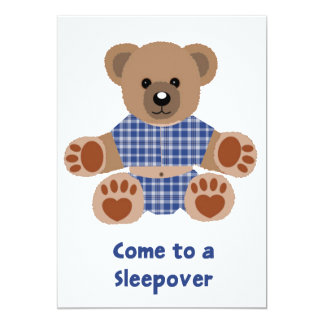 Fuzzy Teddy Bear Blue Plaid Pajamas Sleepover Personalized Announcements