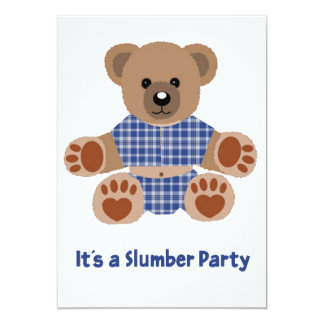 Fuzzy Teddy Bear Blue Plaid Pajamas Slumber Party Custom Invites