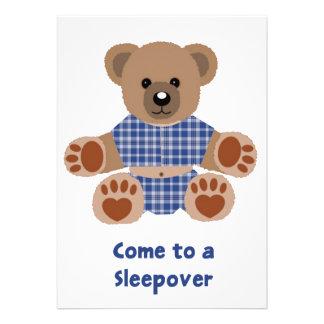 Fuzzy Teddy Bear Blue Plaid Pyjamas Sleepover Personalised Invites