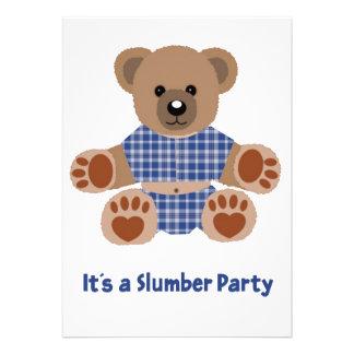 Fuzzy Teddy Bear Blue Plaid Pyjamas Slumber Party Invite