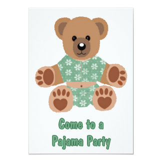 Fuzzy Teddy Bear Green Flowered Pajamas PJ Party Invite