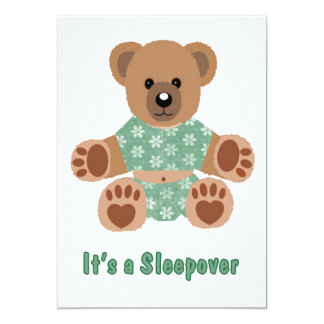 Fuzzy Teddy Bear Green Flowered Pajamas Sleepover Personalized Announcement