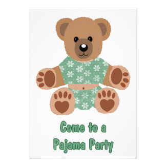 Fuzzy Teddy Bear Green Flowered Pyjamas PJ Party Personalised Announcements