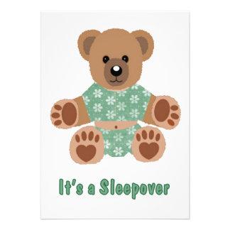 Fuzzy Teddy Bear Green Flowered Pyjamas Sleepover Personalised Invites