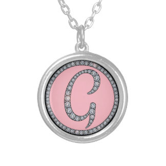 G Bling monogram neckalce Silver Plated Necklace
