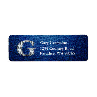 """G """"Diamond"""" Bling Monogram Return Address Label"""