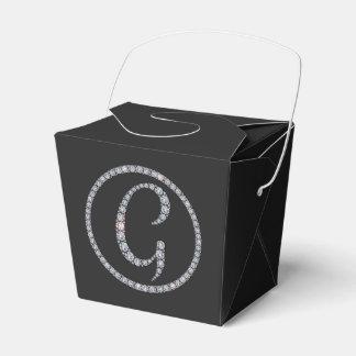 G monogram bling favor box wedding favour boxes