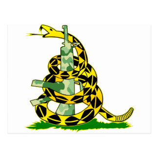 Gadsden Flag Snake Wrapped Around Gun Postcard