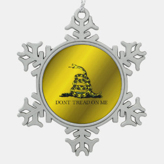 Gadsden Flag Snowflake Pewter Christmas Ornament
