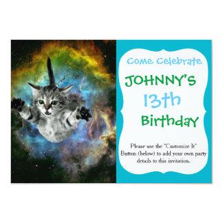 Galaxy Cat Universe Kitten Launch 13 Cm X 18 Cm Invitation Card