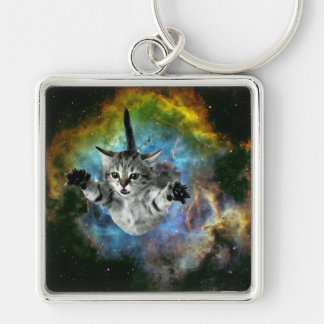 Galaxy Cat Universe Kitten Launch Silver-Colored Square Key Ring