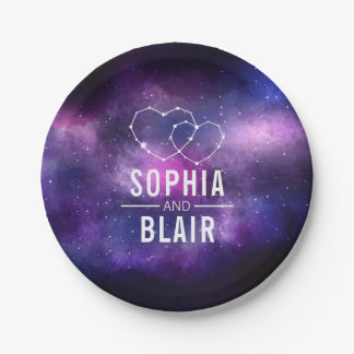 Galaxy Hearts Constellation Wedding Personalized 7 Inch Paper Plate