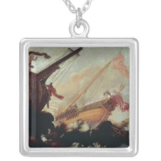 Galleons wrecked on a rocky shore silver plated necklace