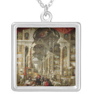 Gallery with Views of Modern Rome, 1759 Silver Plated Necklace