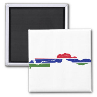 Gambia Flag Map GM Magnet