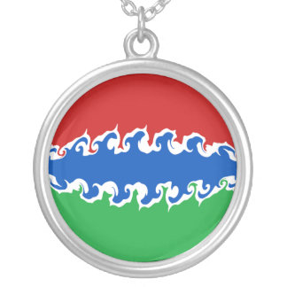 Gambia Gnarly Flag Round Pendant Necklace