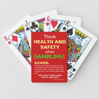 Gambler Health and Safety Funny Joke Warning Bicycle Playing Cards
