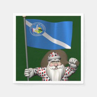 Gambler Santa Claus With Ensign Of Las Vegas Disposable Serviette