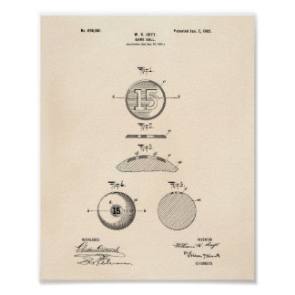Game Ball 1902 Patent Art - Old Peper Poster