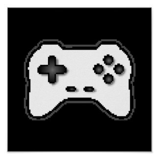 Game Controller Black White 8bit Video Game Style Poster