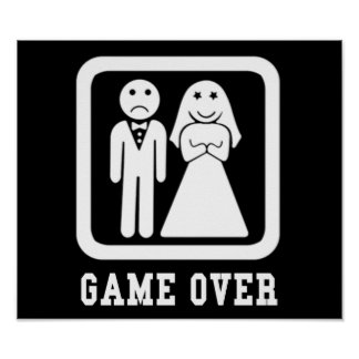 Game Over | Bachelor Stag Party Gift (Black/White) Poster