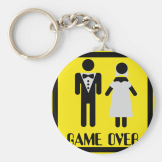 game over couple basic round button key ring