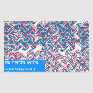 Ganapati Ganesha Sanskrit Mantra Prayer Peace Gift Rectangle Stickers