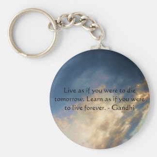 Gandhi Wisdom Quote With Blue Sky clouds Key Ring
