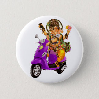 Ganesh Scooter 6 Cm Round Badge