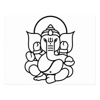 Ganesha Elephant No. 3 (black white) Postcard