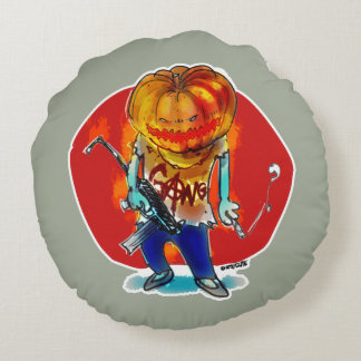 gang squad member pumpkin head round cushion