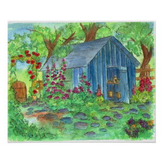 Garden Blue Potting Shed Country Cottage Art Posters