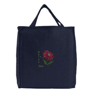 Garden Diva - Pink Flower Embroidered Tote Bag