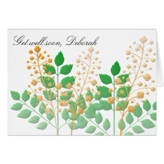 Garden Flowers and Leaves Get Well Card