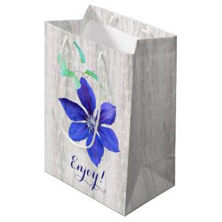 Garden Fresh Purple Clematis Flowers Medium Gift Bag