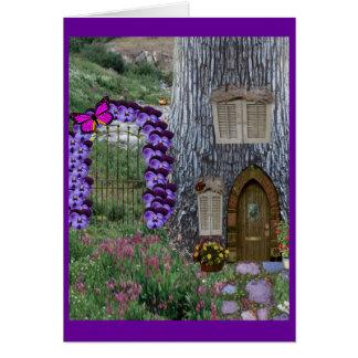 Garden Gate Fairy Cottage Note Card