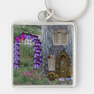 Garden Gate Fairy Cottage Silver-Colored Square Key Ring