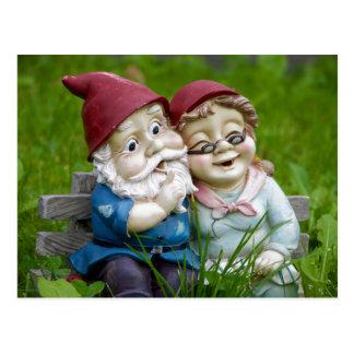 Garden Gnomes Couple Postcard